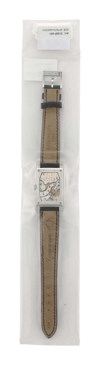 View 4. Thumbnail of Lot 29. PATEK PHILIPPE | REFERENCE 5105, A SINGLE SEALED LIMITED EDITION PLATINUM WRISTWATCH WITH MOVEMENT FROM 1959, MADE TO COMMEMORATE THE OPENING OF PATEK PHILIPPE'S SALON IN GENEVA, CIRCA 2006.