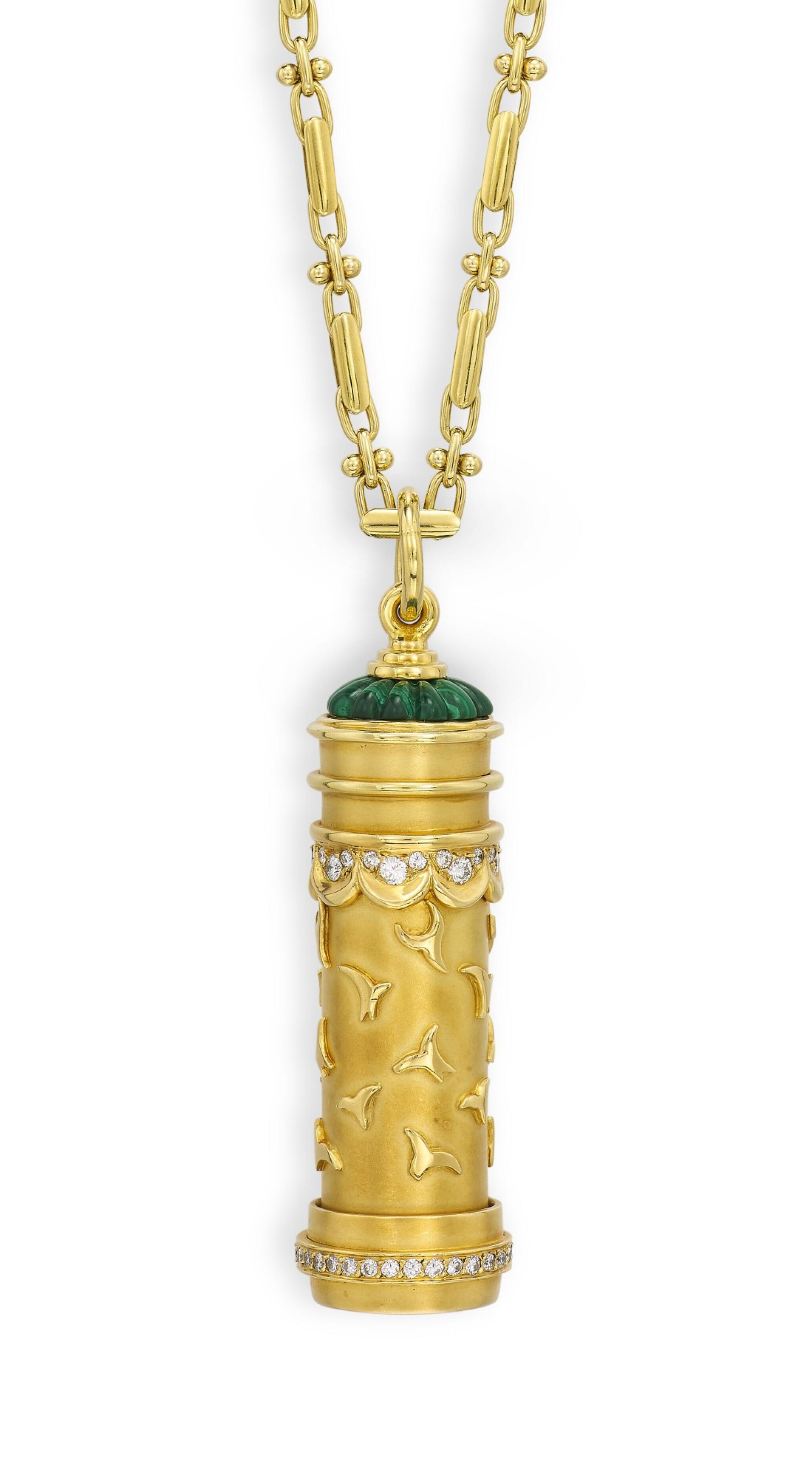 HARRY WINSTON   GOLD, DIAMOND AND GEM SET NOVELTY KALEIDOSCOPE PENDANT   海瑞溫斯頓   18K黃金 配 鑽石 及 寶石 萬花筒 掛墜