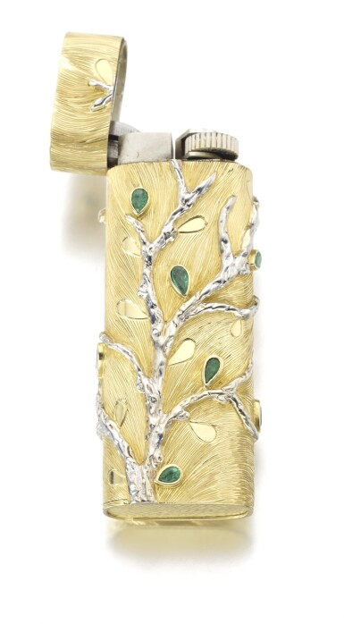 View 3. Thumbnail of Lot 102. GOLD AND EMERALD LIGHTER.
