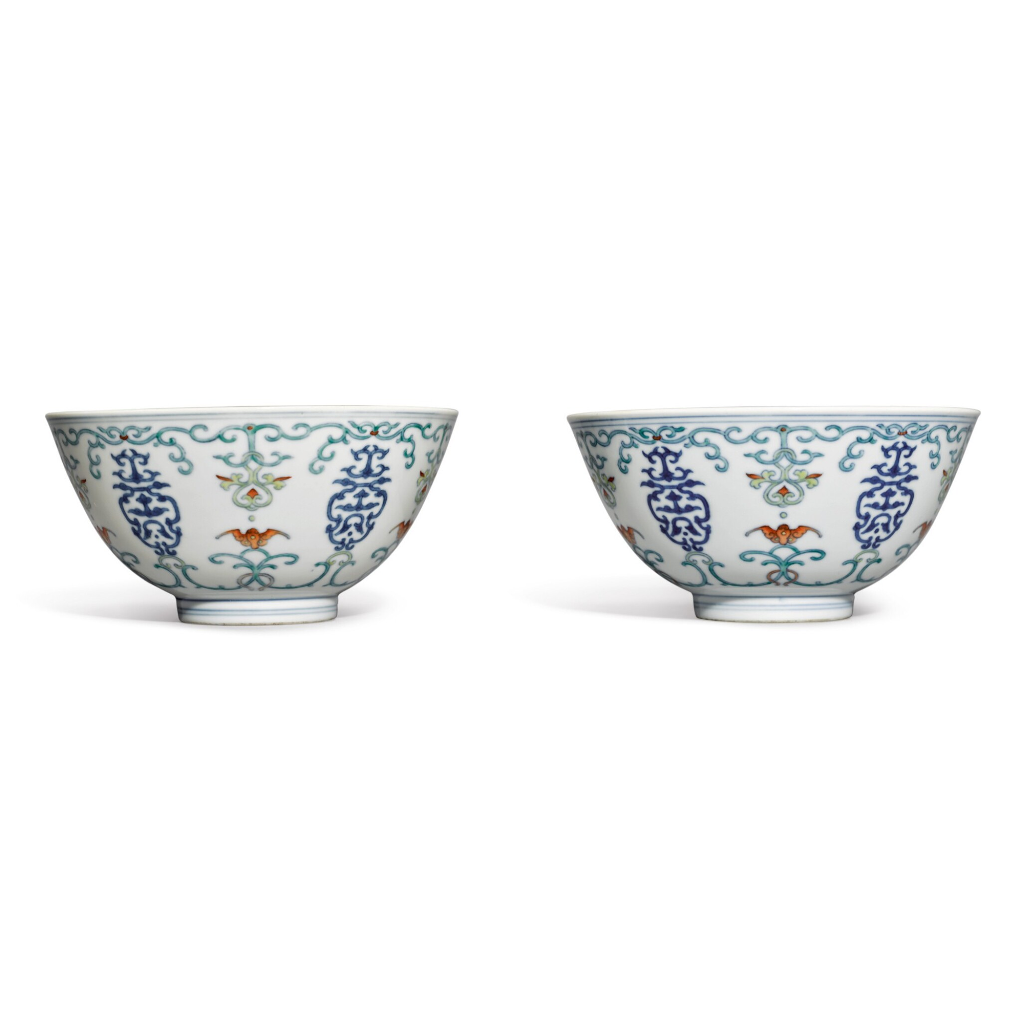View full screen - View 1 of Lot 563. A PAIR OF DOUCAI 'SHOU AND BAT' BOWLS,  QIANLONG SEAL MARKS AND PERIOD.