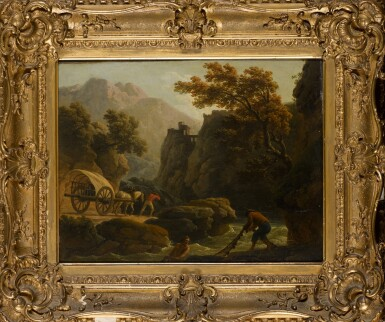 View 2. Thumbnail of Lot 197. CLAUDE-JOSEPH VERNET | Mountainous river landscape with two fishermen casting a net, and a man with his horse-drawn cart travelling along a sandy path.