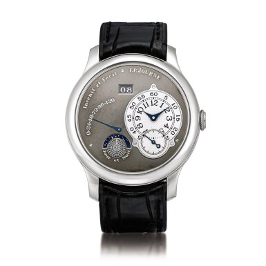 View 1. Thumbnail of Lot 2218. F.P. Journe | Octa Jour et Nuit, A limited edition platinum wristwatch with ruthenium dial, ruthenium-coated brass movement, date, power reserve and day and night indication, Circa 2003 | Octa Jour et Nuit  限量版鉑金腕錶,備釕金屬錶盤、釕金屬塗層銅製機芯、日期、動力儲備及晝夜顯示,約2003年製.