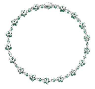 View 3. Thumbnail of Lot 715. Graff | Emerald and diamond necklace | 格拉夫 | 祖母綠配鑽石項鏈.