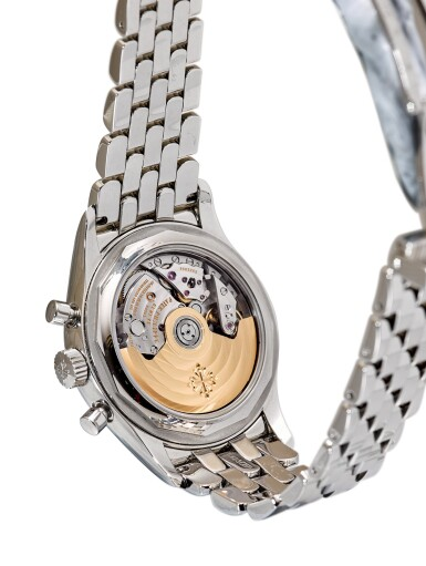 View 3. Thumbnail of Lot 362. PATEK PHILIPPE   REFERENCE 5960 A STAINLESS STEEL ANNUAL CALENDAR FLYBACK CHRONOGRAPH BRACELET WATCH WITH POWER RESERVE AND DAY AND NIGHT INDICATION, CIRCA 2016.