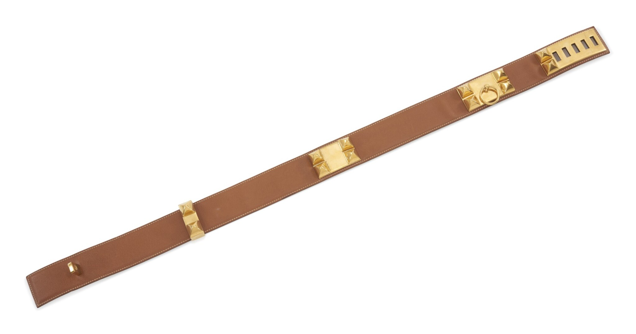 View 1 of Lot 7. Leather and gold plated hardware belt, Collier de chien 75, Hermès, 1995.
