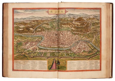 View 2. Thumbnail of Lot 41. Georg Braun und Franz Hogenberg | Civitates orbis terrarum. Cologne, 1597-c.1606, 5 volumes, hand-coloured, calf.