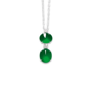 View 1. Thumbnail of Lot 1765. JADEITE AND DIAMOND PENDENT NECKLACE  天然「帝王綠」翡翠 配 鑽石 項鏈.
