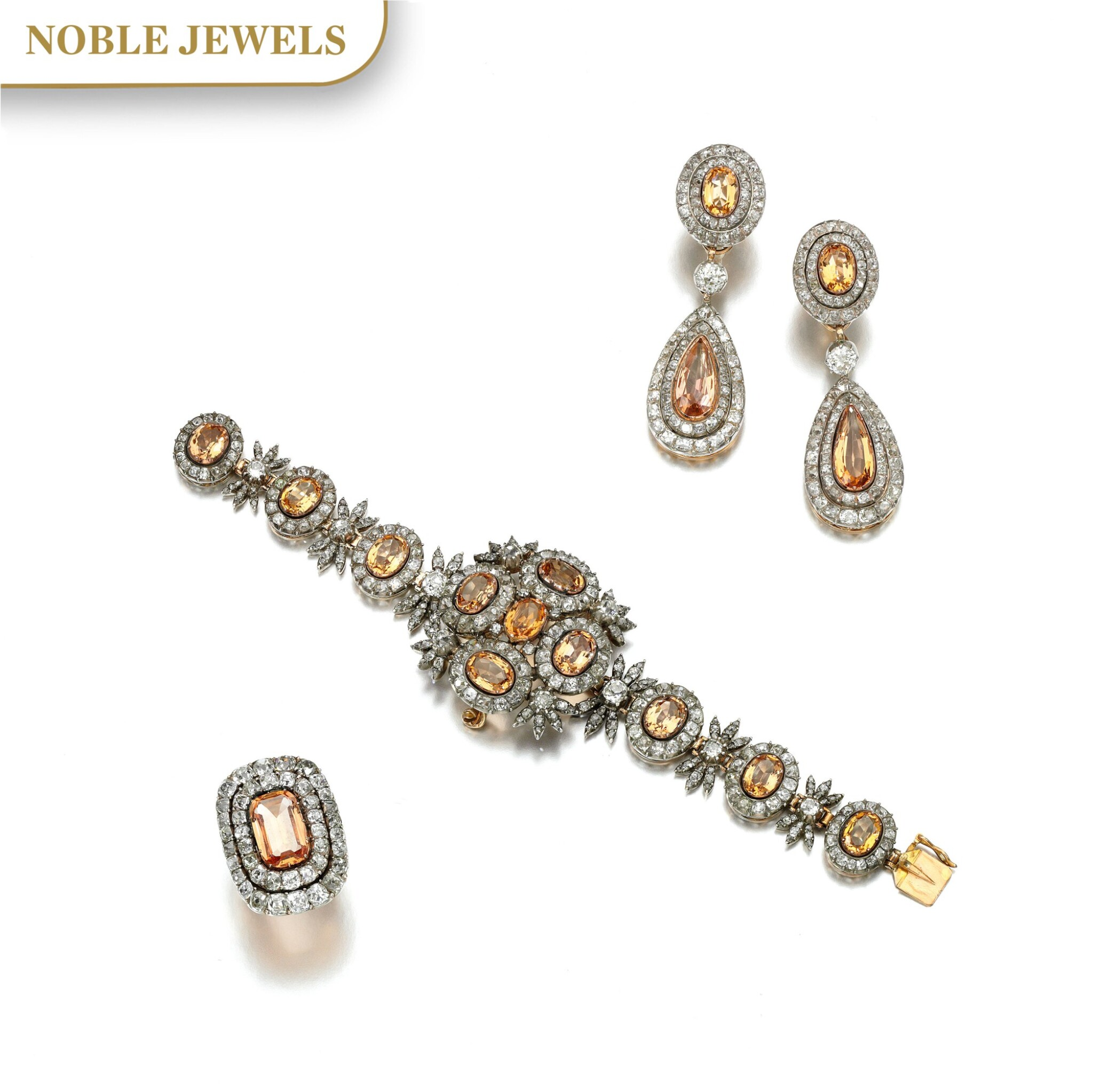View full screen - View 1 of Lot 150. TOPAZ AND DIAMOND PARURE, 19TH CENTURY AND LATER.