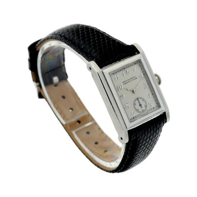 View 3. Thumbnail of Lot 40. PATEK PHILIPPE | A PLATINUM SQUARE SHAPED WRISTWATCH, MADE IN 1929 .