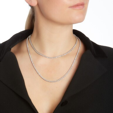 View 4. Thumbnail of Lot 103. Two diamond necklaces.