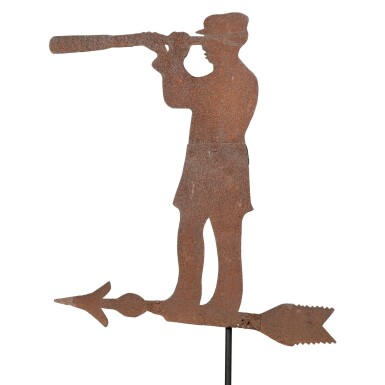 VERY RARE SHEET IRON SEA CAPTAIN WEATHERVANE, PROBABLY MASSACHUSETTS, CIRCA 1900