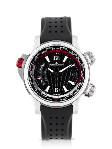 View 1. Thumbnail of Lot 35. JAEGER-LECOULTRE | MASTER COMPRESSOR EXTREME W-ALARM ASTON MARTIN, REF 177847N LIMITED EDITION STAINLESS STEEL AND TITANIUM WORLD TIME WRISTWATCH WITH ALARM AND DATE CIRCA 2014.