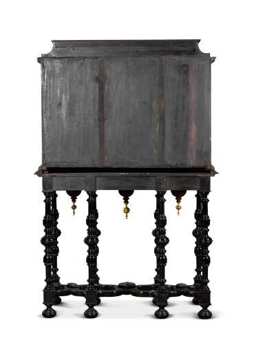 View 6. Thumbnail of Lot 41. A Flemish Baroque gilt-metal mounted ebony, rosewood, tortoiseshell, ivory, inlaid and carved cabinet-on-stand, probably Antwerp, late 17th century.