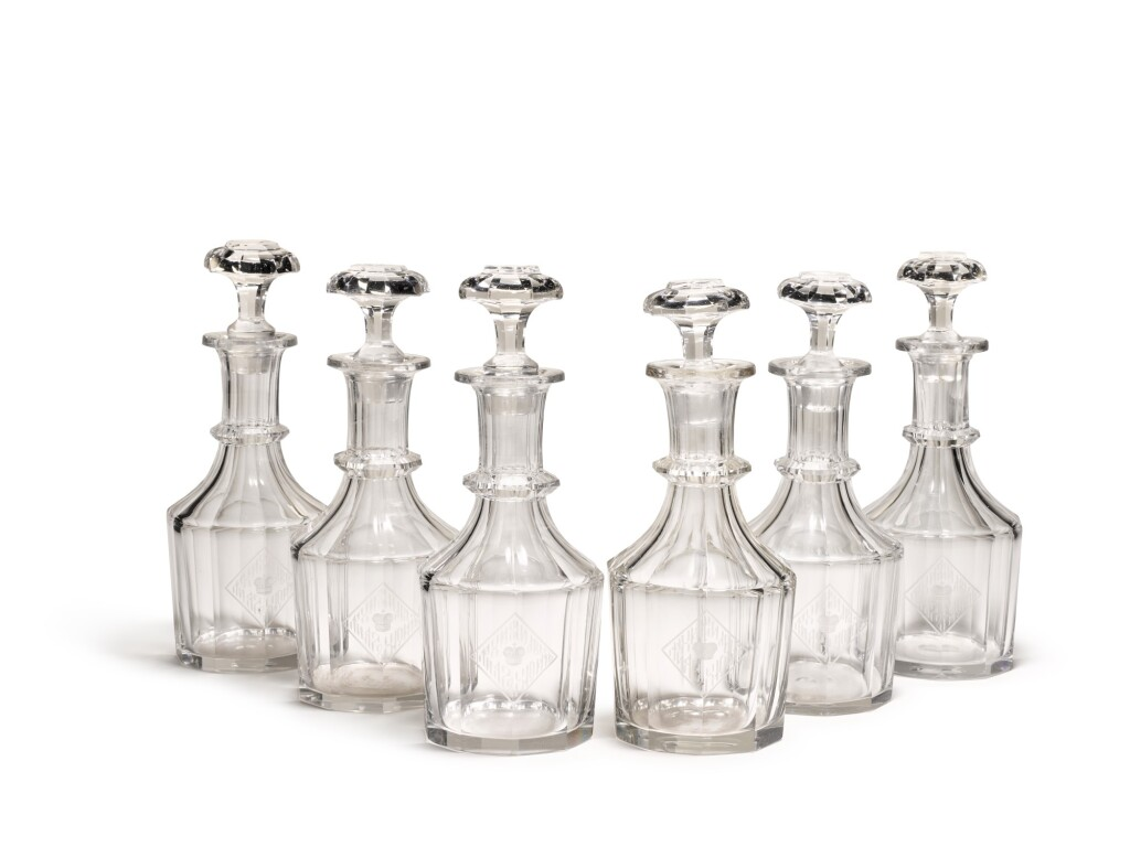 A SET OF SIX GLASS DECANTERS FROM THE GRAND DUKE MICHAEL MIKHAILOVICH BANQUET SERVICE, IMPERIAL GLASSWORKS, ST PETERSBURG, 19TH CENTURY