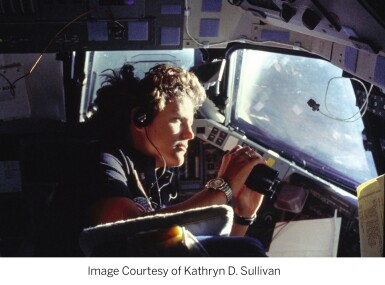 """View 7. Thumbnail of Lot 82. [STS-41-G and STS-31] Kathy Sullivan's Twice Flown Seiko — The """"Most Vertical Watch""""."""