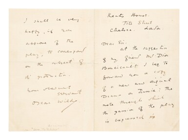 View 1. Thumbnail of Lot 177. Wilde, Oscar | A previously unlocated letter showing Wilde's earliest efforts to have his plays staged.