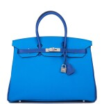 Hermès Horseshoe Stamp (HSS) Bicolor Bleu Electrique and Bleu Hydra 35cm of Clemence Leather with Brushed Palladium Hardware
