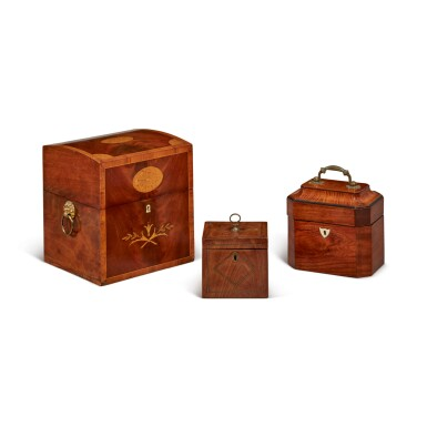 A GEORGE III MAHOGANY AND EBONISED WOOD TEA CADDY WITH TWO CANISTERS, TOGETHER WITH A LATE GEORGE III BRASS INLAID MAHOGANY TEA CADDY, AND A GEORGE III MAHOGANY, TULIPWOOD, AND INLAID TEA CADDY WITH DECANTERS, 18TH CENTURY