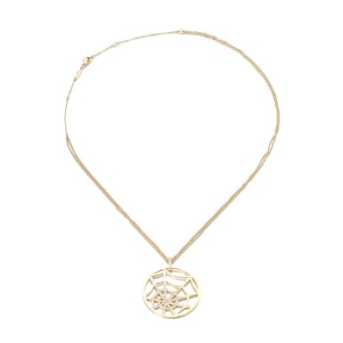View 1. Thumbnail of Lot 74. Gold and diamond necklace, 'Attrape-moi... si tu m'aimes'.