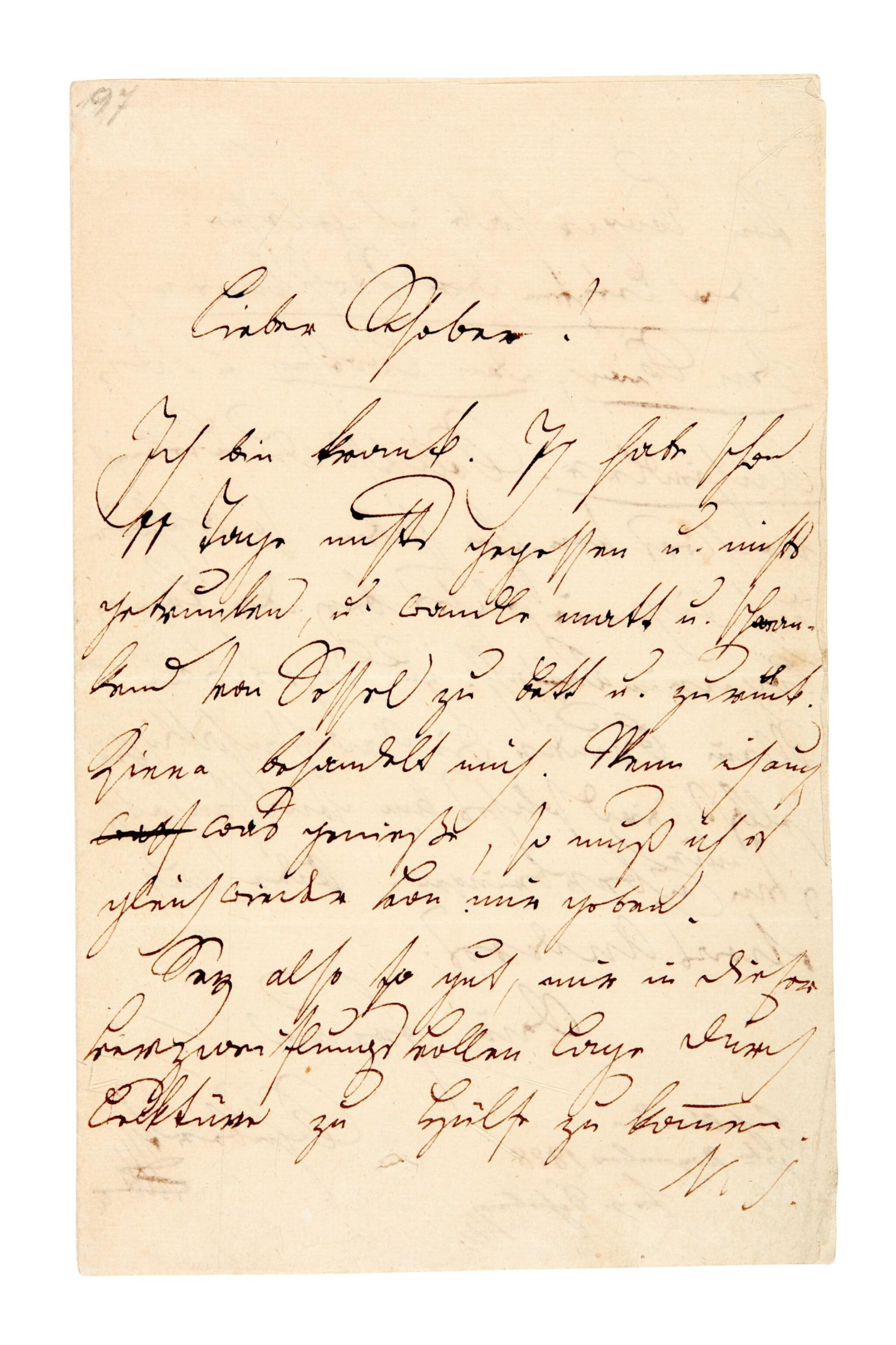 View full screen - View 1 of Lot 55. F. Schubert. The composer's last surviving letter, written to his close friend Franz von Schober, 1828.