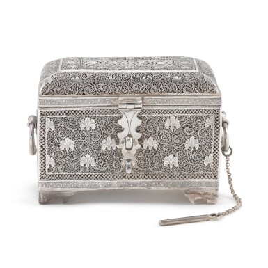 View 1. Thumbnail of Lot 61. A fine Indian silver perfume casket, unmarked, Kashmir, probably 19th century.