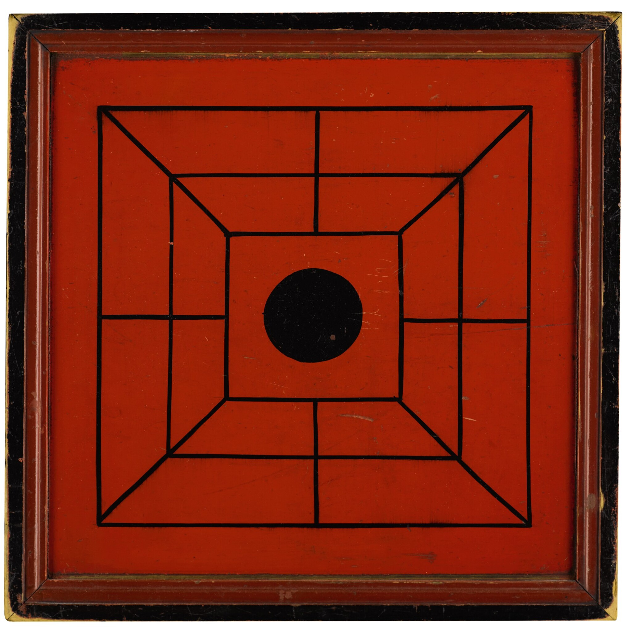View full screen - View 1 of Lot 1453. RED AND BLACK PAINTED WOODEN DOUBLE-SIDED TWELVE MEN'S MORRIS GAMEBOARD, NEW ENGLAND, 1850-70.