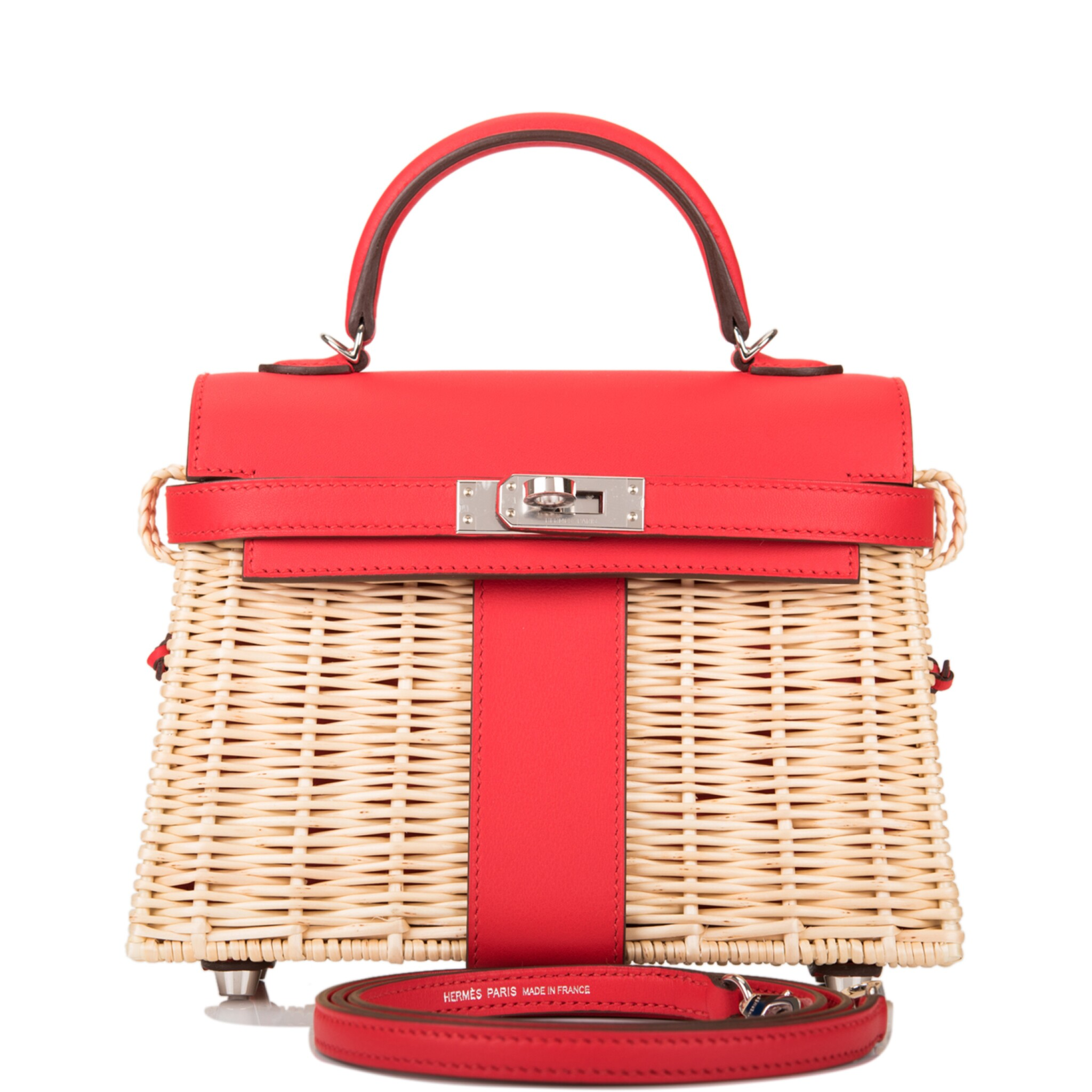 View full screen - View 1 of Lot 184. Hermès Rare Rouge De Coeur Mini Kelly Picnic Bag of Osier Wicker and Swift Leather.