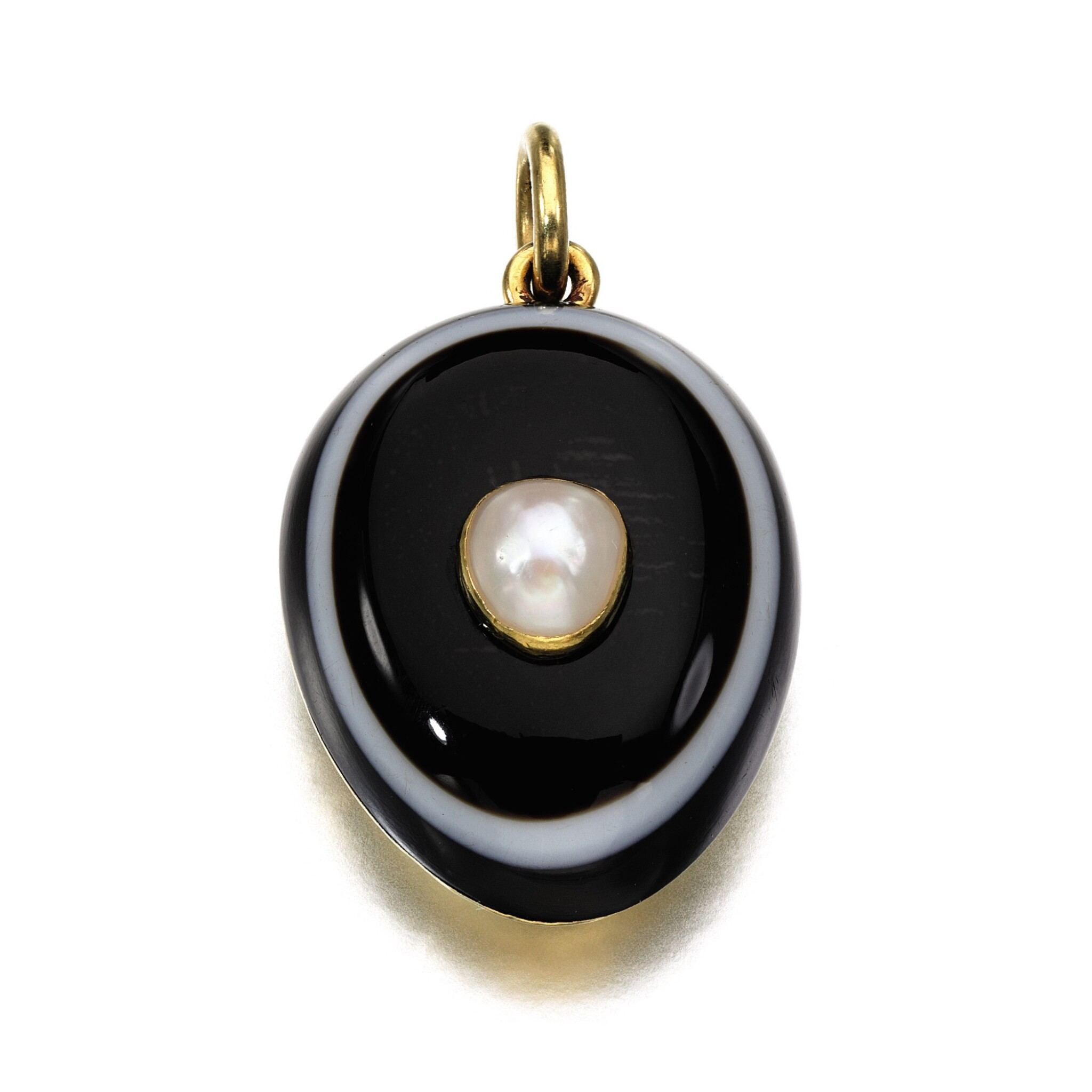 View full screen - View 1 of Lot 301. Banded agate and pearl pendant, 1878.