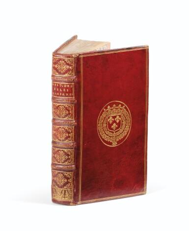 View 1. Thumbnail of Lot 9. LE GOBIEN (père). Histoire des isles Mariannes... 1700. In-12, maroquin rouge aux armes de Philippe de France..