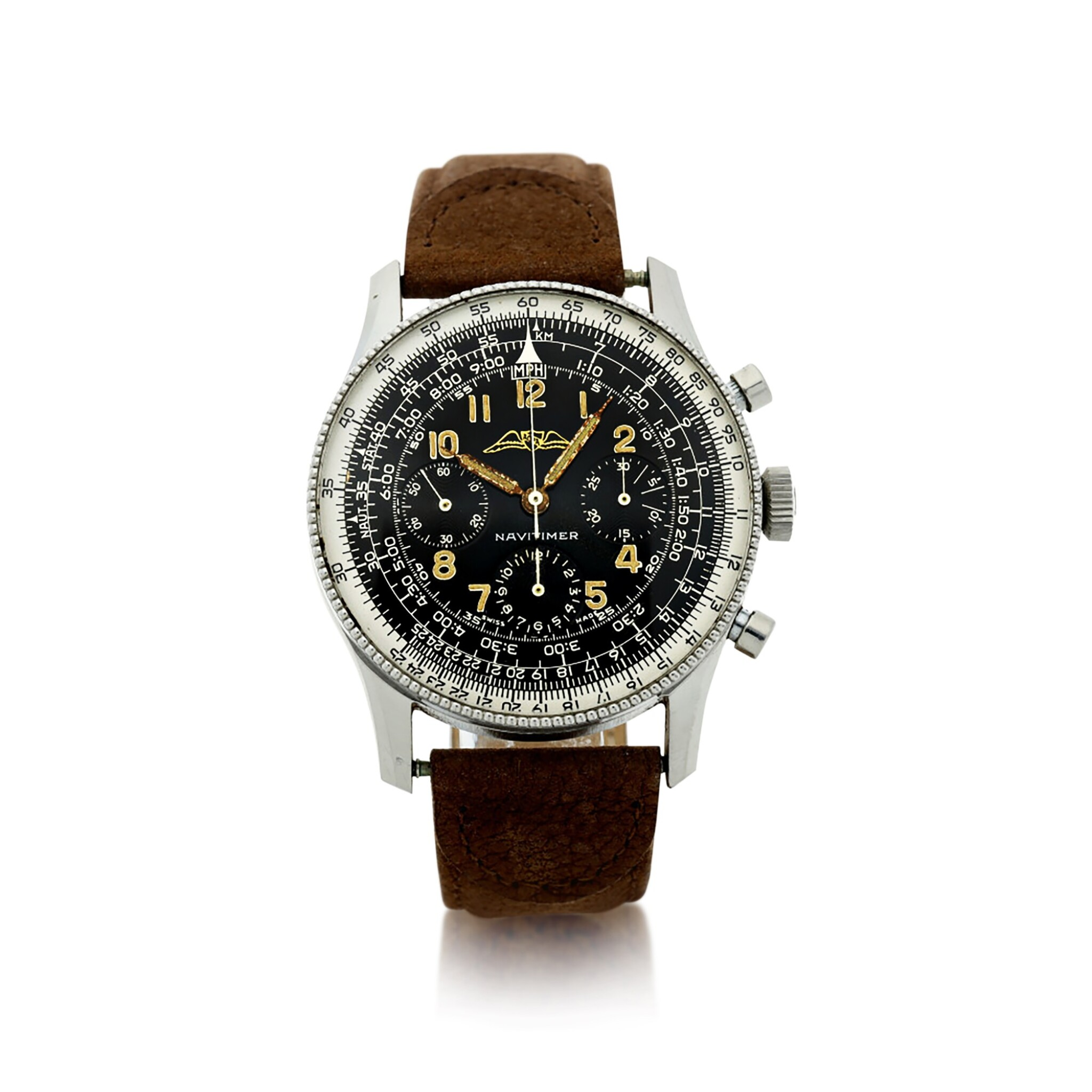 View full screen - View 1 of Lot 81. NO REFERENCE AOPA NAVITIMER A RARE AND EARLY STAINLESS STEEL CHRONOGRAPH WRISTWATCH, MADE IN 1955.