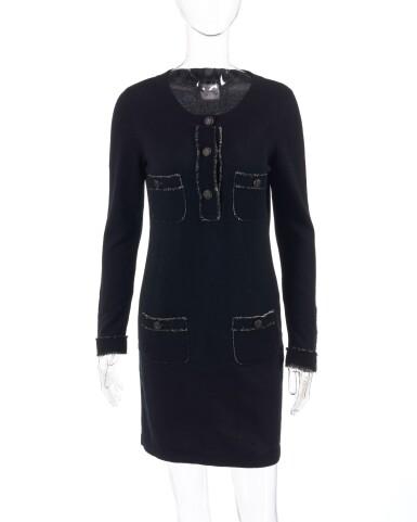 View 1. Thumbnail of Lot 174. Black cashmere mini dress.