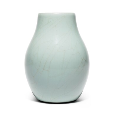 View 4. Thumbnail of Lot 56. A superb and rare Guan-type ovoid vase, Seal mark and period of Qianlong | 清乾隆 仿官釉闊口瓶 《大清乾隆年製》款.