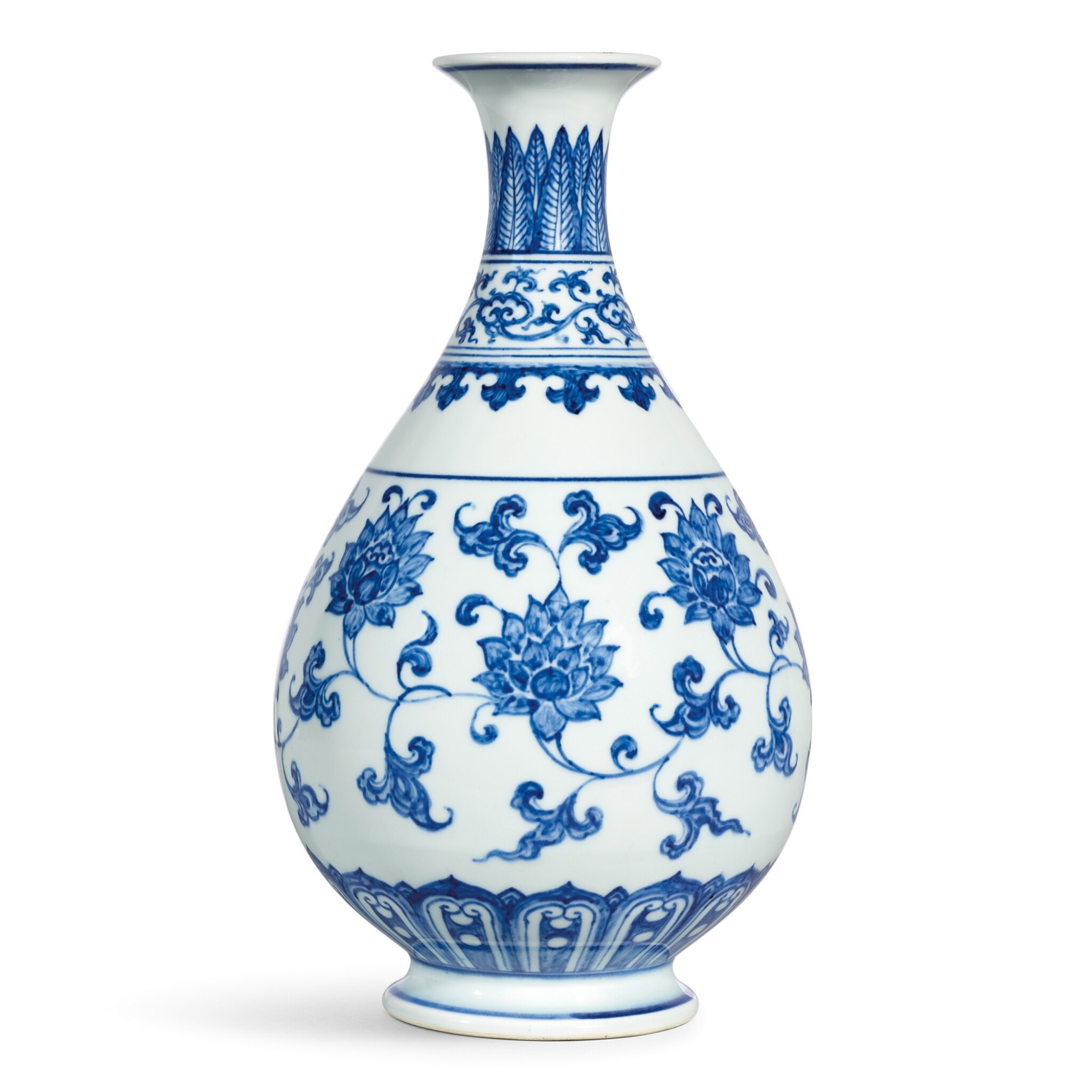 View full screen - View 1 of Lot 3609. AN EXTREMELY RARE AND SUPERB BLUE AND WHITE 'LOTUS SCROLL' VASE, YUHUCHUNPING MING DYNASTY, CHENGHUA PERIOD   明成化 青花纏枝番蓮紋玉壺春瓶.