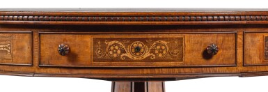View 6. Thumbnail of Lot 201. A REGENCY SATINWOOD, MAHOGANY AND MARQUETRY LIBRARY DRUM TABLE, CIRCA 1815, ATTRIBUTED TO GEORGE BULLOCK.