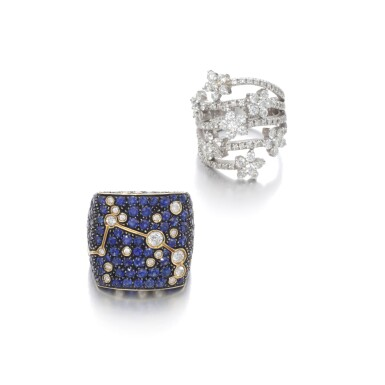 View 1. Thumbnail of Lot 104. Diamond ring and a sapphire and diamond ring.