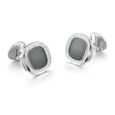 "PATEK PHILIPPE | NAUTILUS  A PAIR OF WHITE GOLD AND DIAMOND-SET CUFFLINKS, CIRCA 2015 | 百達翡麗 | ""Nautilus 一對白金鑲鑽石袖扣,約2015年製"""