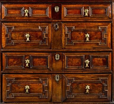 View 3. Thumbnail of Lot 33. A Charles II oak, walnut and yew veneered chest of drawers, circa 1690.