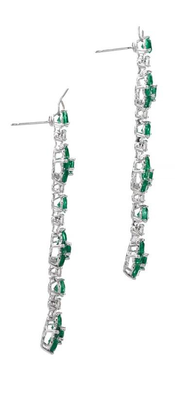 View 2. Thumbnail of Lot 713. Graff | Pair of emerald and diamond pendent earrings | 格拉夫 | 祖母綠配鑽石耳墜一對.