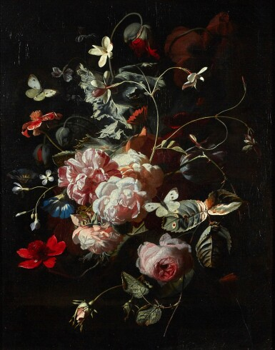 SIMON PIETERSZ. VERELST | STILL LIFE OF PINK ROSES, POPPIES, JASMINE AND OTHER FLOWERS, IN A GLASS VASE ON A TABLE, WITH BUTTERFLIES