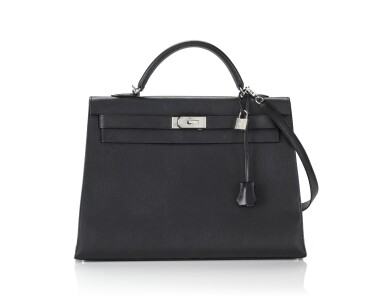 View 1. Thumbnail of Lot 5. KELLY 40 SELLIER EPSOM LEATHER IN BLACK COLOUR WITH PALLADIUM HARWARE. HERMÈS, 2006 .