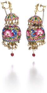 A PAIR OF QAJAR GOLD AND ENAMELLED PENDANT BELL-EARRINGS, PERSIA, 19TH CENTURY