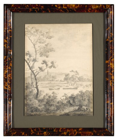 View 2. Thumbnail of Lot 99. Landscape with Fishermen and Goats.