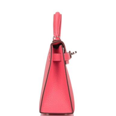 View 3. Thumbnail of Lot 29. HERMÈS   ROSE LIPSTICK SELLIER KELLY 20CM OF CHEVRE LEATHER WITH PALLADIUM HARDWARE.