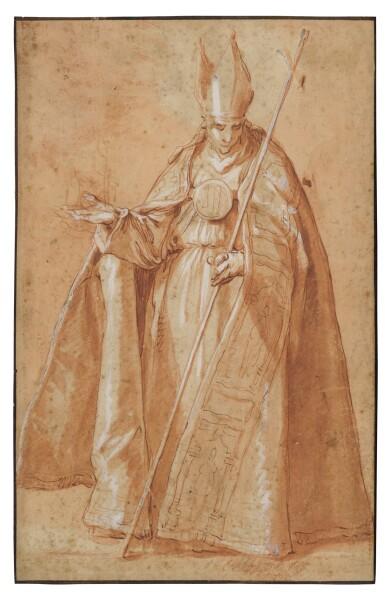 View 1. Thumbnail of Lot 22. Recto: A Bishop Verso: A drapery study.