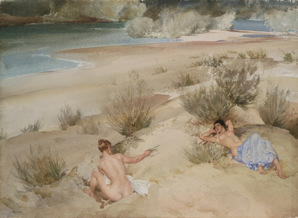 SIR WILLIAM RUSSELL FLINT, R.A., P.R.W.S. | ALEXANDRINE AND JOSETTE ON THE RIVER GARD, LANGUEDOC