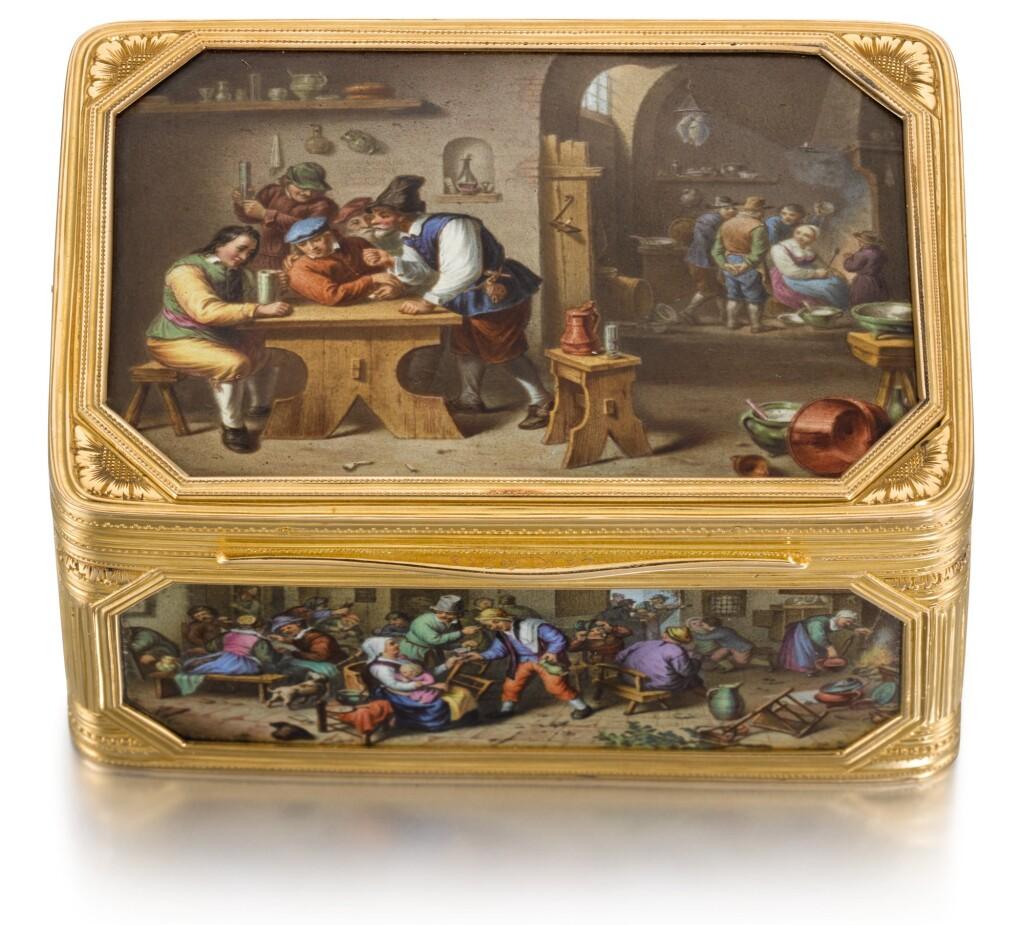 A GOLD AND ENAMEL CAGEWORK SNUFF BOX, HERMANN RATZERSDORFER, VIENNA, 1867-1872