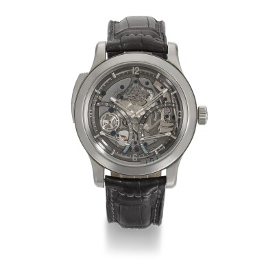 View 1. Thumbnail of Lot 353. JAEGER LECOULTRE | MASTER GRANDE TRADITION MINUTE REPEATER, REF 151.T.67.S, LIMITED EDITION TITANIUM SKELETONISED MINUTE REPEATING WRISTWATCH WITH 15-DAY POWER RESERVE AND TORQUE INDICATION, CIRCA 2012.