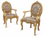 A PAIR OF ITALIAN NEOCLASSICAL GILTWOOD ARMCHAIRS, LAST QUARTER 18TH CENTURY
