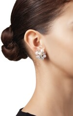 PAIR OF CULTURED PEARL AND DIAMOND EARCLIPS