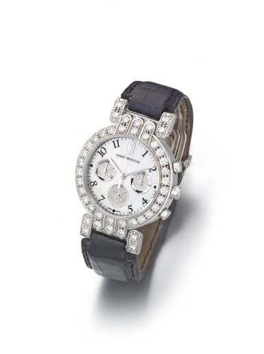 View 2. Thumbnail of Lot 70. HARRY WINSTON |  A WHITE GOLD AND DIAMOND SET CHRONOGRAPH WRISTWATCH WITH MOTHER OF PEARL DIAL CIRCA 2000.